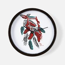 Headdress American Indian/tatoo art Wall Clock