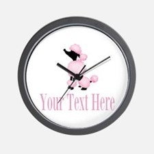 French Poodle Pink Wall Clock