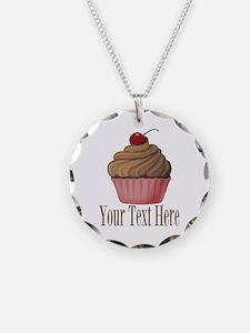 Pink Brown Cupcake Necklace