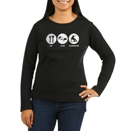 Eat Sleep Snowboard Women's Long Sleeve Dark T-Shi