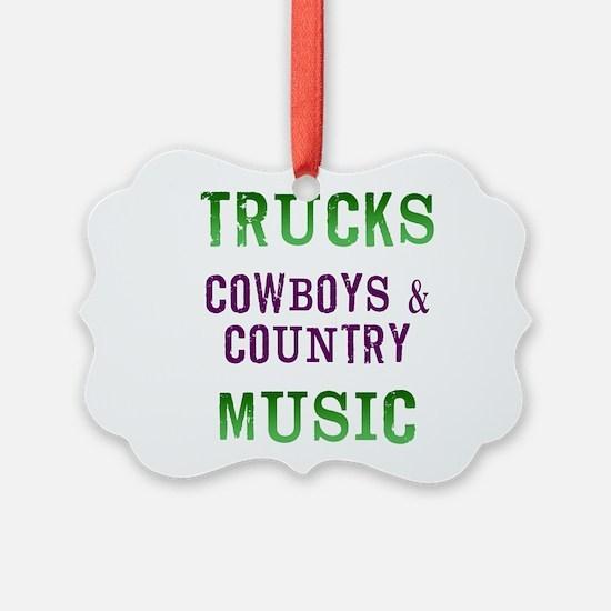 Trucks Cowboys Country Music Ornament