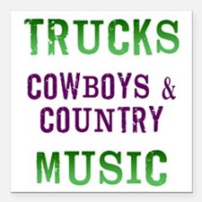 """Trucks Cowboys Country Music Square Car Magnet 3"""""""