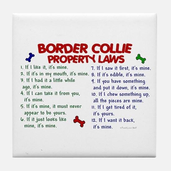 Border Collie Property Laws 2 Tile Coaster
