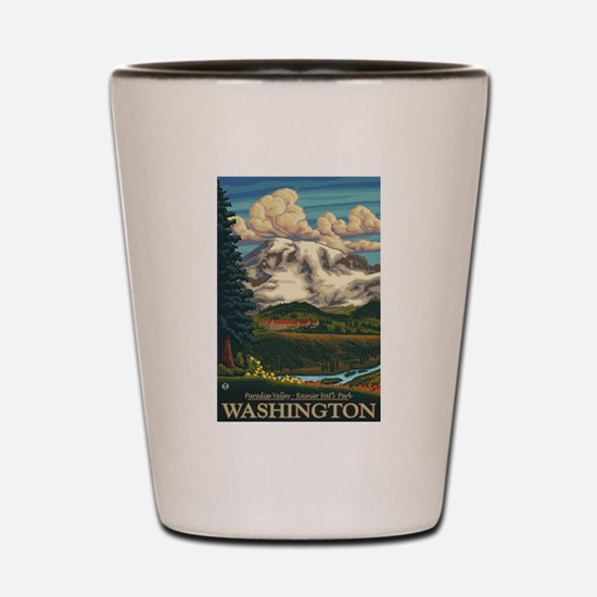 Mt Rainier, Washington - Paradise Inn Shot Glass
