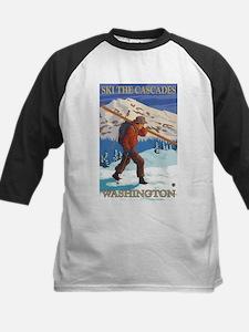 Cascades, Washington - Skier Carrying Skiis Baseba
