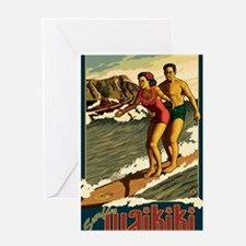 Waikiki, Hawaii - Surfing Greeting Cards