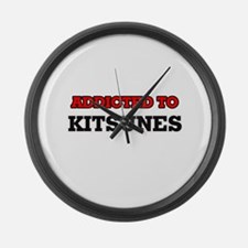 Addicted to Kitsunes Large Wall Clock