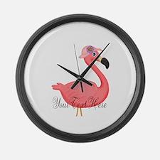 Pink Flamingo Lady Large Wall Clock
