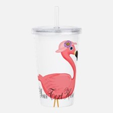 Pink Flamingo Lady Acrylic Double-wall Tumbler