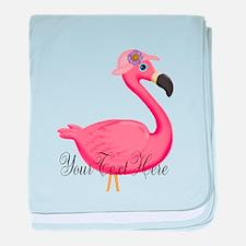 Pink Flamingo Lady baby blanket