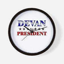 DEVAN for president Wall Clock