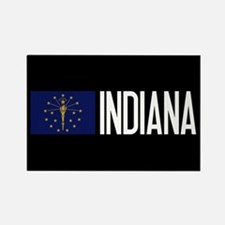 Indiana: Hoosier Flag & Indiana Rectangle Magnet