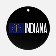 Indiana: Hoosier Flag & Indiana Round Ornament