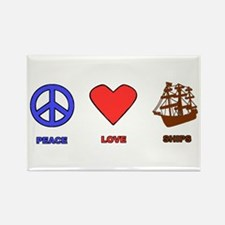 Peace Love Ships Rectangle Magnet