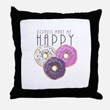 Donuts Make Me Happy Throw Pillow