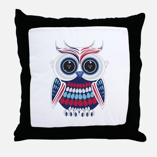 Patriotic Owl Throw Pillow