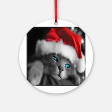 Christmas Kitten Ornament (Round)
