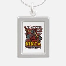 Engineer by Day Ninja by Silver Portrait Necklace