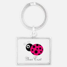 Pesronalizable Pink and Black Ladybug Keychains