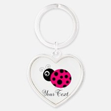 Pesronalizable Pink and Black Ladybug Keychains