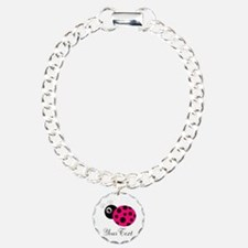 Pesronalizable Pink and Black Ladybug Bracelet
