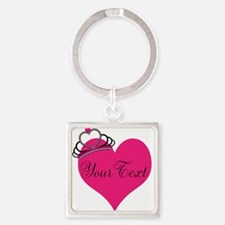 Personalizable Pink Heart with Crown Keychains
