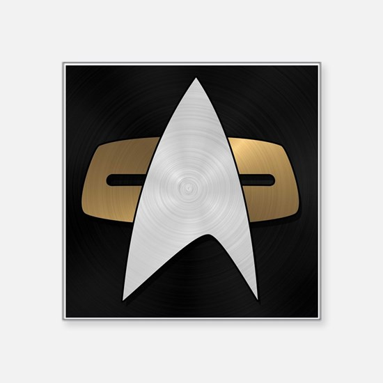 "STARTREK VOY METAL 5 Square Sticker 3"" x 3"""