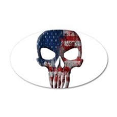 American Skull on Dark Wall Decal