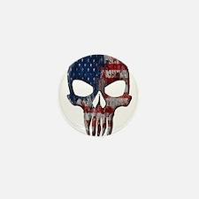 American Skull on Dark Mini Button