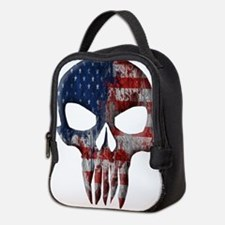 American Skull on Dark Neoprene Lunch Bag