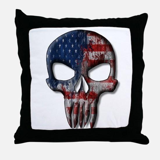American Skull on light Throw Pillow