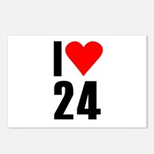 I love 24 Postcards (Package of 8)
