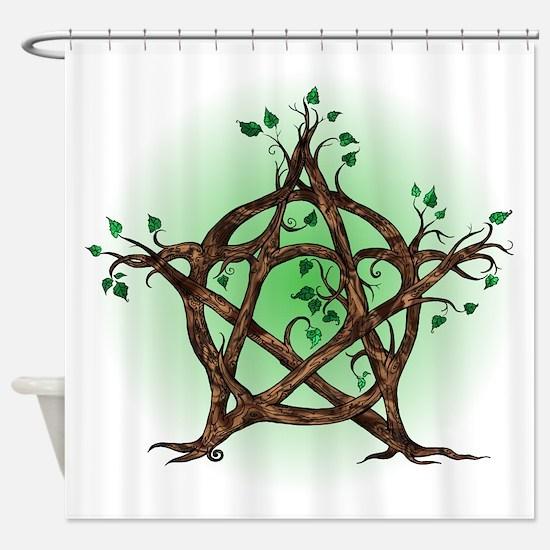 Magic Tree Symbol green backed Shower Curtain