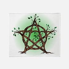 Magic Tree Symbol green backed Throw Blanket