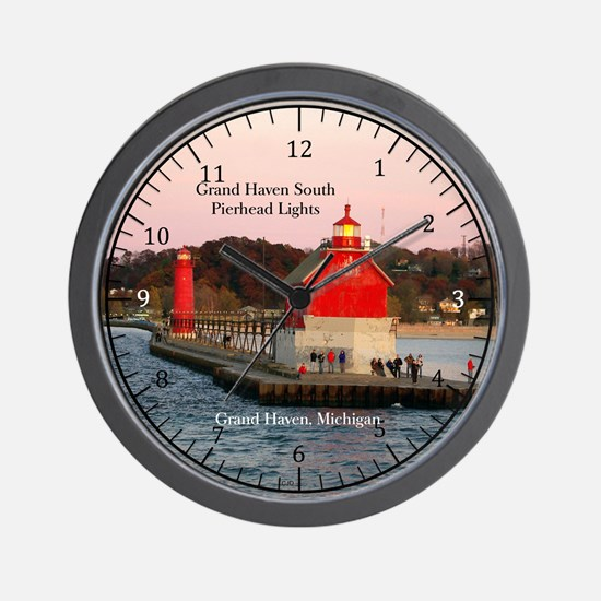 Grand Haven South Pierhead Lights Wall Clock