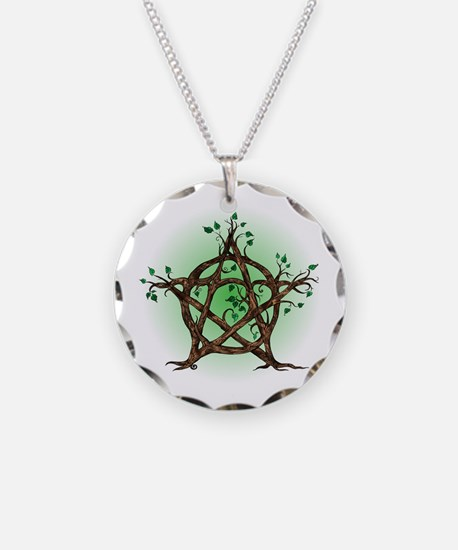 Magic Tree Symbol green backed Necklace