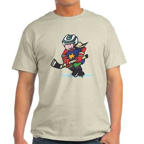 Hockey Playing Girl Light T-Shirt