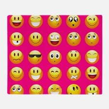 neon pink emoji Throw Blanket