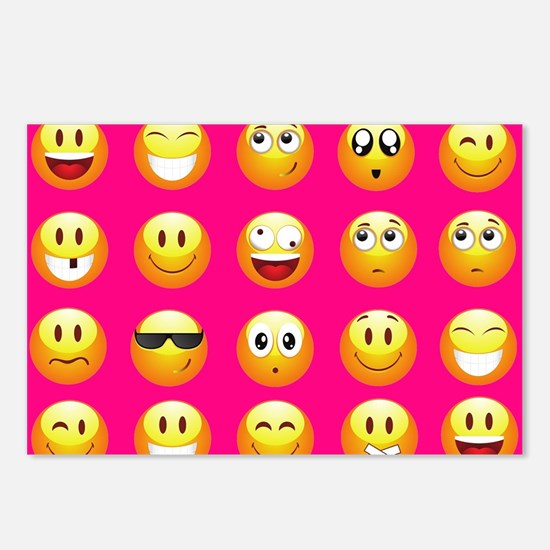 neon pink emoji Postcards (Package of 8)