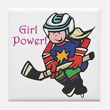 Girl Power Hockey Player Tile Coaster