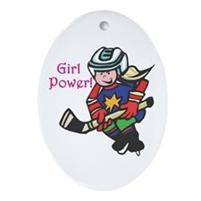Girl Power Hockey Player Oval Ornament