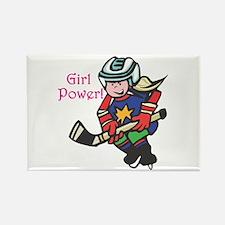 Girl Power Hockey Player Rectangle Magnet