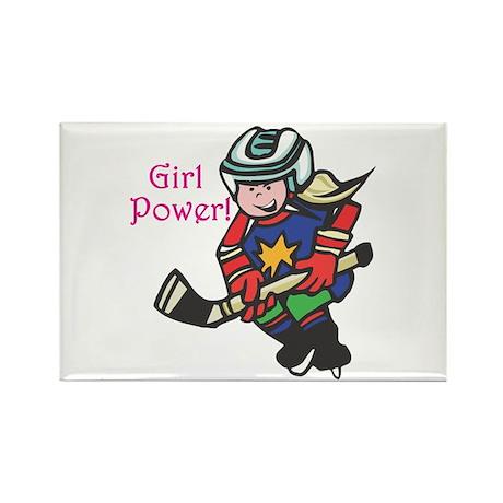 Girl Power Hockey Player Rectangle Magnet (10 pack