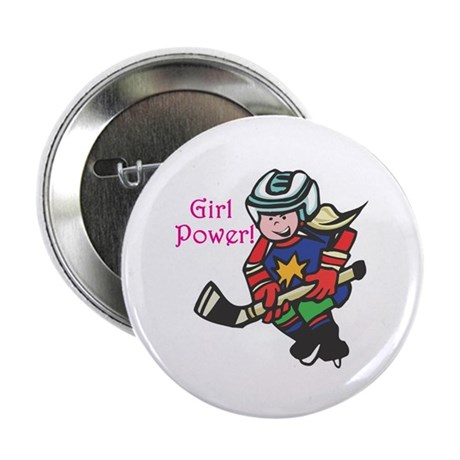 """Girl Power Hockey Player 2.25"""" Button (10 pack)"""