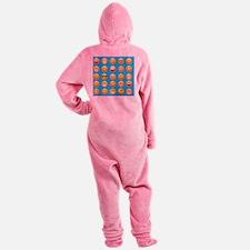 aqua blue emojis Footed Pajamas