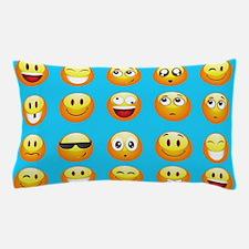 aqua blue emojis Pillow Case