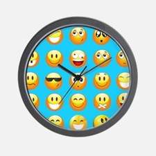 aqua blue emojis Wall Clock