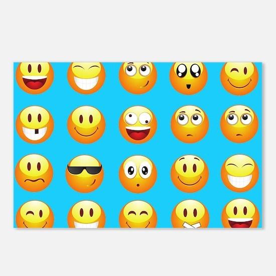 aqua blue emojis Postcards (Package of 8)