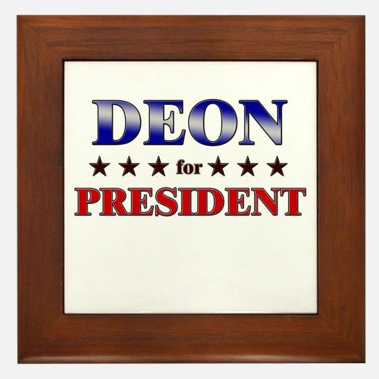 DEON for president Framed Tile