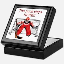 The puck stops Here!! Keepsake Box